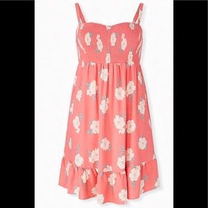 TORRID CORAL FLORAL CHALLIS SMOCKED SKATER DRESS